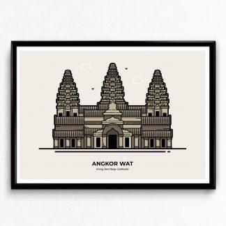 Angkor Wat Cambodia Travel Poster designed by Christine Wilde