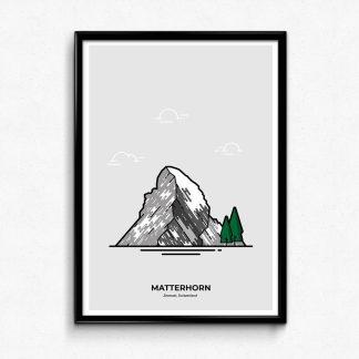 Matterhorn Zermatt Switzerland travel poster designed by Christine Wilde