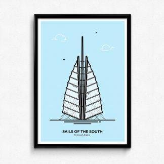 Sails of the South - Portsmouth Travel Poster designed by Christine Wilde