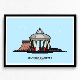 Southsea Skatepark - Portsmouth Travel Poster designed by Christine Wilde