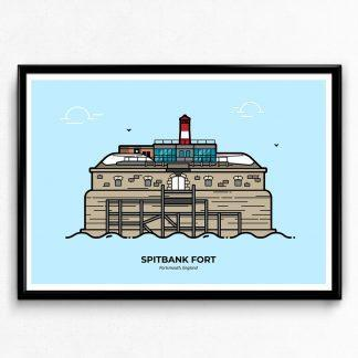 Spitbank Fort - Portsmouth Travel Poster designed by Christine Wilde