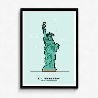 Statue of Liberty Poster - New York Travel Poster designed by Christine Wilde