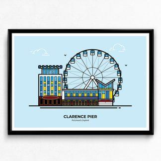 Clarence Pier Poster - Portsmouth Travel Poster designed by Christine Wilde