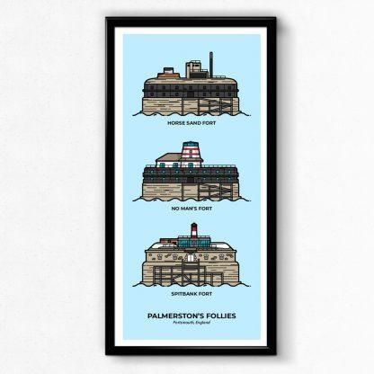 Palmerston's Follies Solent Forts - Portsmouth Travel Poster designed by Christine Wilde