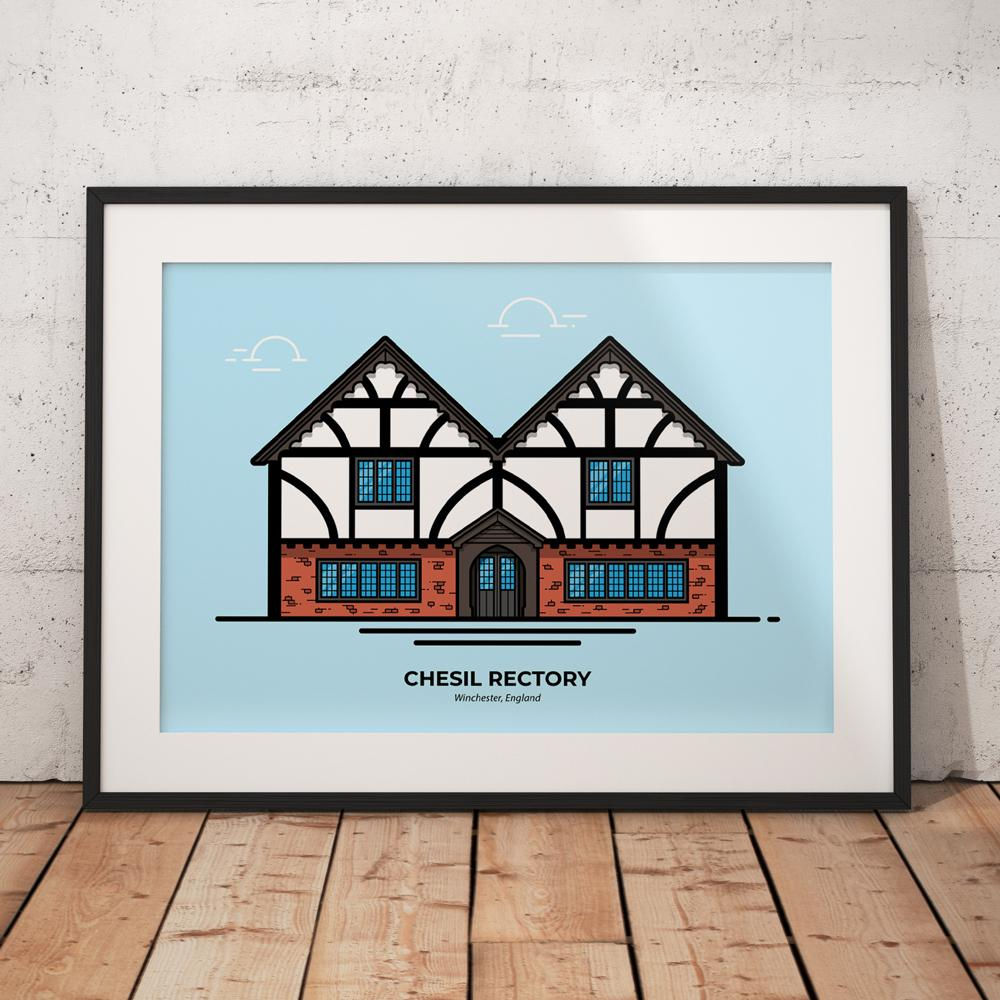 Chesil Rectory pub custom poster designed by Christine Wilde