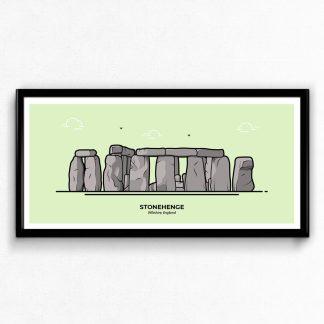 Stonehenge Wiltshire travel poster designed by Christine Wilde