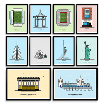 Travel posters designed and created by illustrator Christine Wilde