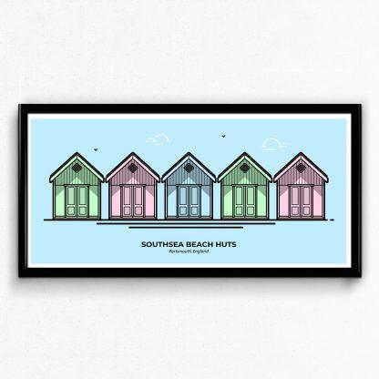 Southsea Beach Huts Portsmouth Travel Poster designed by Christine Wilde