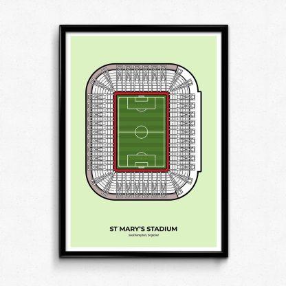 St Mary's Stadium Southampton Football Poster design by illustrator Christine Wilde